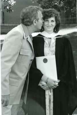 Christina Hafner, B.A. with father Karl, spring convocation 1985