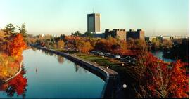 Promotional photograph of campus from the canal