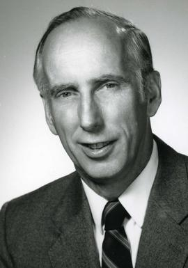 Portrait of Honorary Degree recipient Gordon M. McNabb Spring Convocation 1986 (Dr. of Engineering)