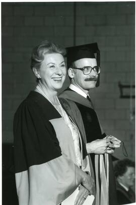 Honorary degree recipient Lorraine Monk - Spring convocation 1985 (Dr. of Literature) with Michel...