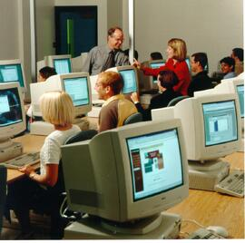 Promotional photograph of a computer lab
