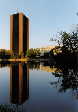 Promotional photograph of Dunton Tower in the evening