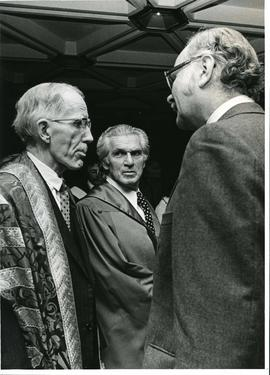 Stanley Knowles with Justice Bora Laskin and President Oliver - Fall 1973