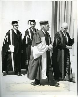 Convocation - Right Honorable Vincent Massey with academic procession (C.J. Mackenzie, A.D. Dunto...