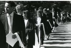 Convocation graduates in line to receive degrees, Spring convocation 1986