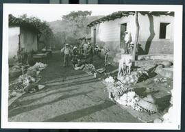 A streetside market displaying produce. Honduras, ca. 1985.