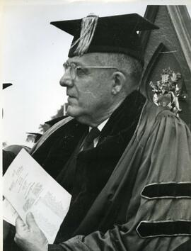 Unidentified man in academic dress, ca. 1969