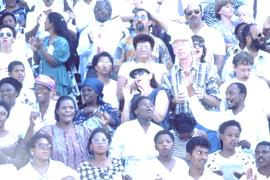 Rainbow crowd- a good example of post-apartheid of universal participation at the Durban Peace Ra...