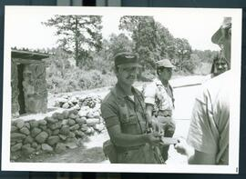 A security checkpoint along the road. Honduras, ca. 1982.
