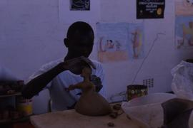 A superb young potter at work in Windhoek- studio supported by Oxfam.