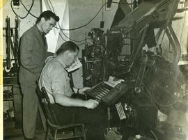 Ray Magladry and Citizen newspaper typesetter, ca. 1950