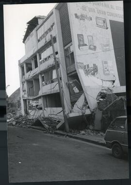 A destroyed apartment building. El Salvador, ca. 1986.