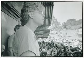 Bruce Cockburn performing at the Colomancagua refugee camp. Honduras, 1985