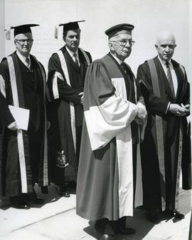 Dunton, Vincent Massey, Judge Gibson in a Convocation procession, 1963