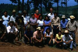 Martin Barber UK Refugee Council with Camp Committee. El Tesoro, Honduras, ca. 1985