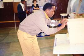 Preparing voting material in the polling station Ohlanga in the village of Inanda. South Africa, ...