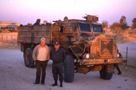 Clyde Sanger and a South African armoured vehicle.
