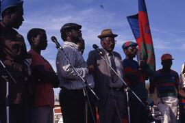SWAPO rally at Usakos. Man in leather cap i Theo Ben Gurebab then SWAPO Secretary for Foreign Aff...
