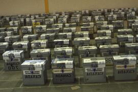 Canadian metal ballot boxes in Windhoek for central count.