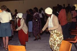 Dancing at an election education session witnessed by Flora Macdonald.