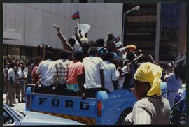 Victory celebration (SWAPO) main street downtown Windhoek.
