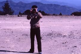 Warren Allmand, Liberal MP at airstrip. Colomancagua , Honduras, ca. 1985