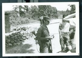 A security checkpoint along the road. Honduras, ca. 1985