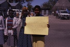 Poster: No Koevoet (South African police), No Casspirs (South African intimidating armoured vehicle), No Apartheid.