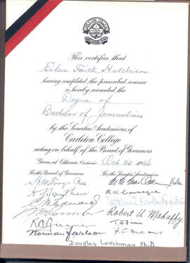 Faith Avis's degree certificate with signatures of all Journalism Faculty in 1946.
