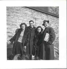 "Group picture of ""Faith (Hutchison) Avis, Harold (Abe) Morrison, Berry Cameron [and] Irwin Fricke, Carleton 1946 Journalism""."