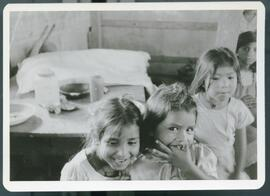 Young girls inside of a shelter. Colomancagua, Honduras, 1985