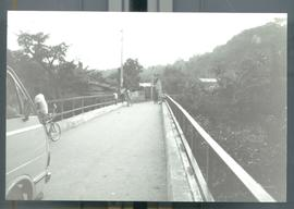 A narrow bridge over a river. Likely El Salvador, ca. 1986