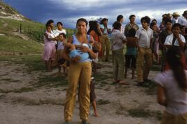 Mother and child. Displaying the great strength of the refugee women and their determination to survive. Mesa Grande, Honduras, ca. 1985.