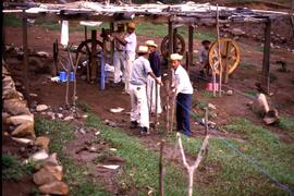 Weaving plastic thread for hammock production. Mesa Grande, Honduras, ca. 1985.
