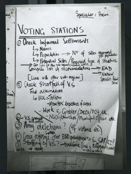 Procedures- voting station. South Africa, 1994.
