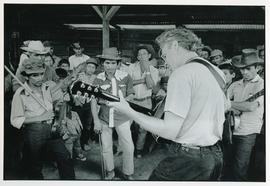 Bruce Cockburn performing with the camp band. Colomancagua, Honduras, ca. 1985.