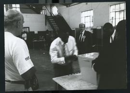 Mission monitor observing preparations at Ohlanga poll (Mandela's) South Africa, 1994.